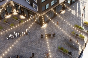 rendering of courtyard with string lighting
